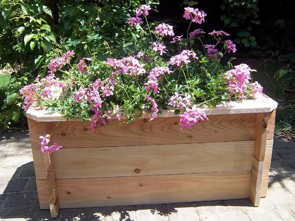 Bacs à fleurs en bois rectangulaire petit