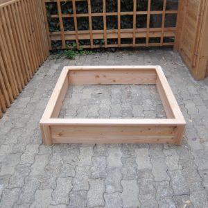 Bac potager carré en bois bas