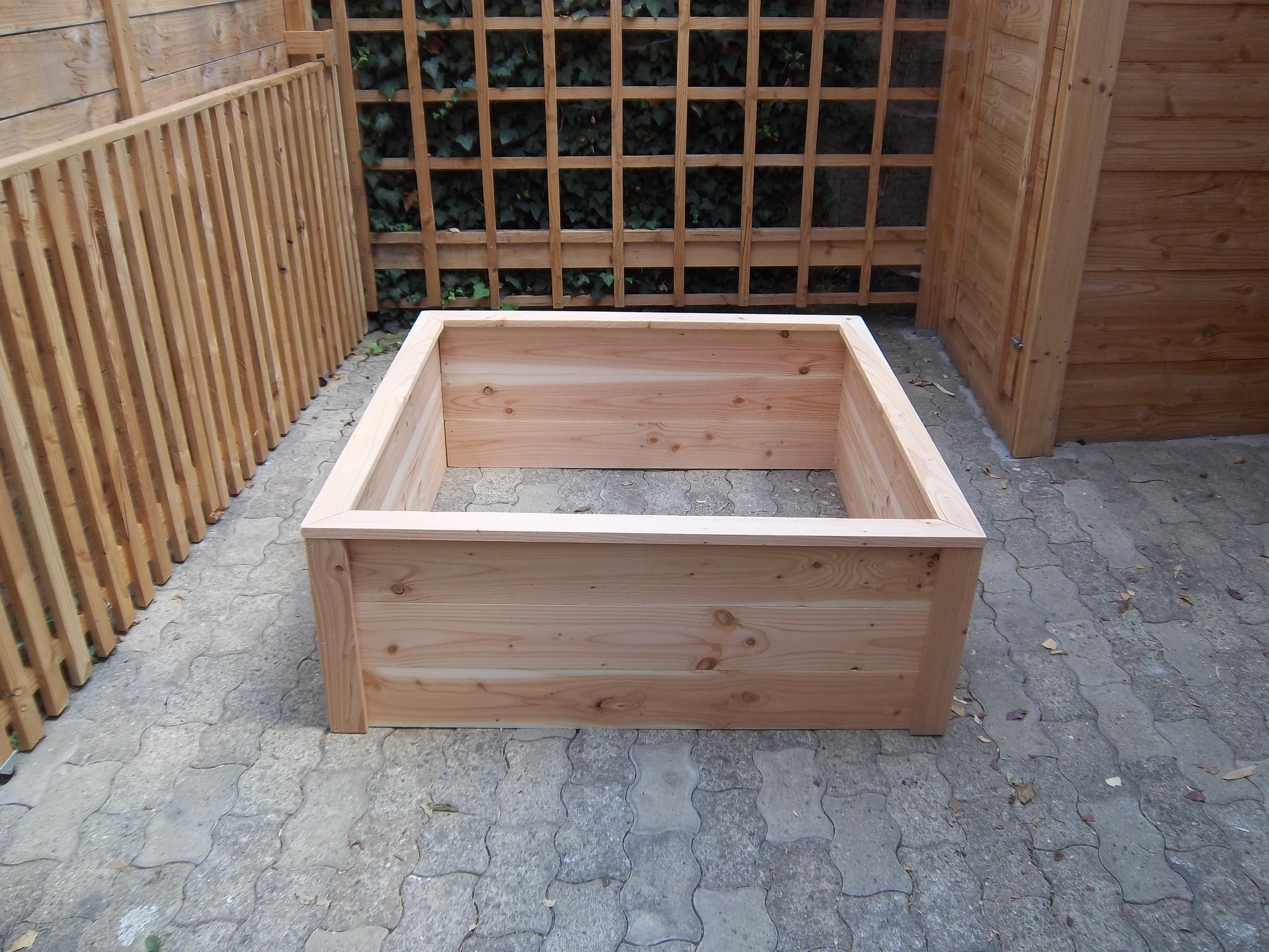 Fabriquer Potager Carré En Bois bac potager carré h.45cm 120x120 en bois - nouvelle gamme, montage par vis