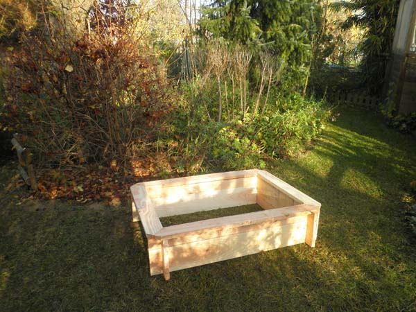 Carré potager rectangle bois bas