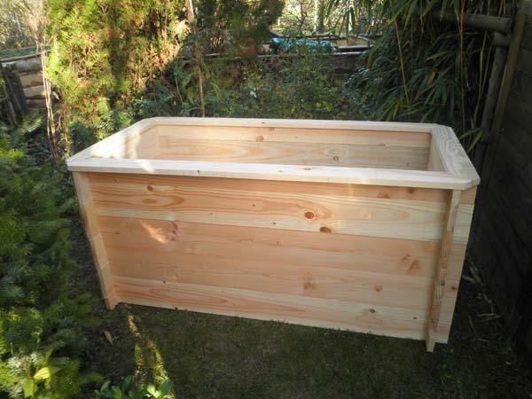Bac potager rectangle cm 150x75 en bois montage for Bac potager bois